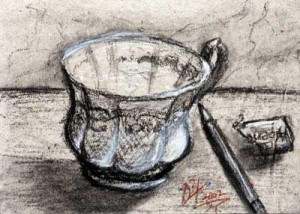 5 o' clock coffee - charcoal drawing by artist Darko Topalski
