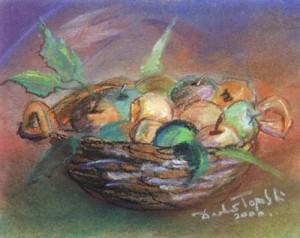 Basket - pastel drawing by artist Darko Topalski
