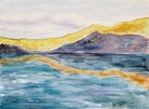 Golden Coast watercolor painting by artist Darko Topalski