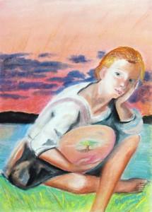 Omnia Mea Mecum Porto - pastel drawing by artist Darko Topalski