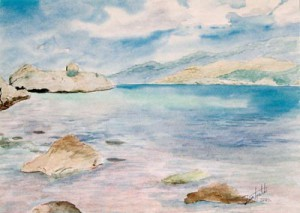 Piece of Peace watercolor painting by artist Darko Topalski