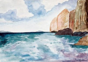 The Coconut Island watercolor painting by artist Darko Topalski