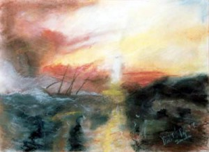 To the Lighthouse - pastel drawing by artist Darko Topalski