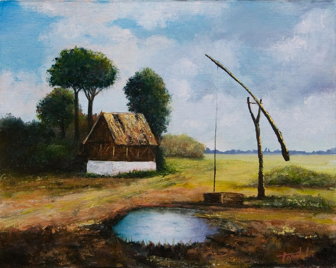 Old farm oil painting fine arts gallery original for Oil paintings of houses