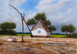Farm in the Fields - Oil Painting on Canvas by artist Darko Topalski