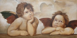 Raphael Angels by Topalski - Oil on canvas 100x50cm