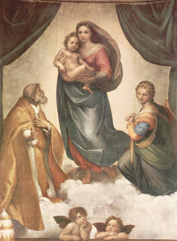 Raffaello Santi - Rafael - The Sistine Madonna - with angels