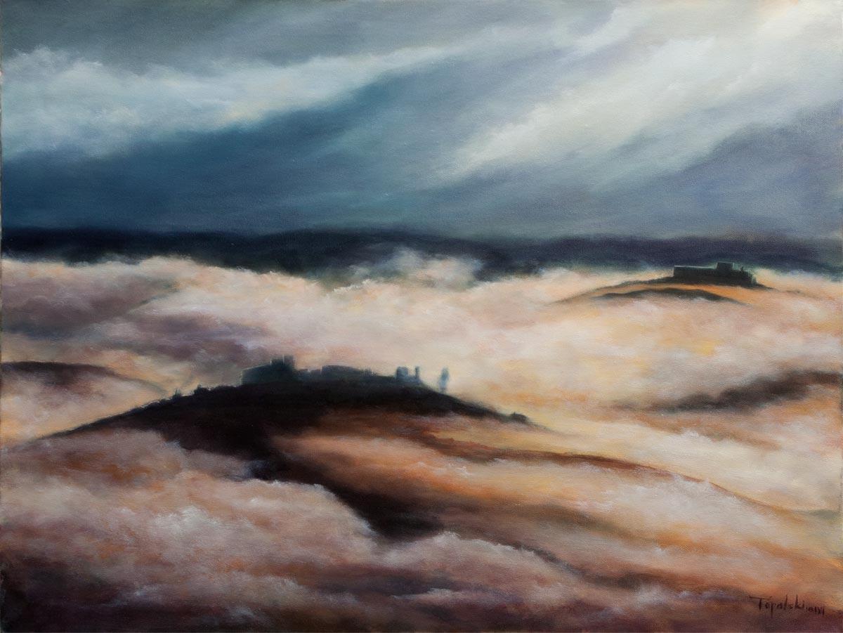 Crimson mist oil painting on canvas by artist darko topalski