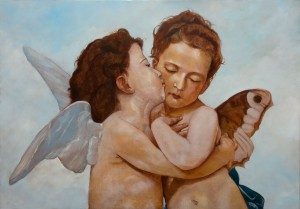 The first Kiss or L'Amour et Psyché, enfants by Topalski (originally painted by W.A. Bouguereau)