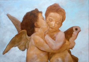 Added some white and colors to the sky -The first Kiss or L'Amour et Psyché, enfants by Topalski