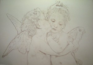 drawing-The first Kiss or L'Amour et Psyché, enfants by Topalski