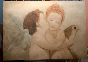 First oil layer-The first Kiss or L'Amour et Psyché, enfants by Topalski