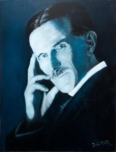 Nikola Tesla - Blue Portrait - Oil Painting by Topalski