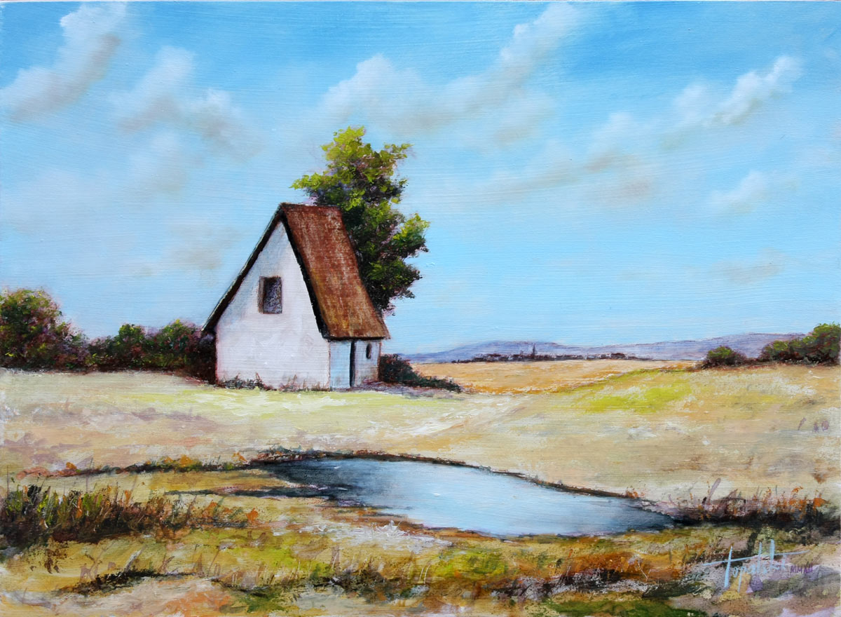 Blue farm house oil painting fine arts gallery for Oil paintings for the home