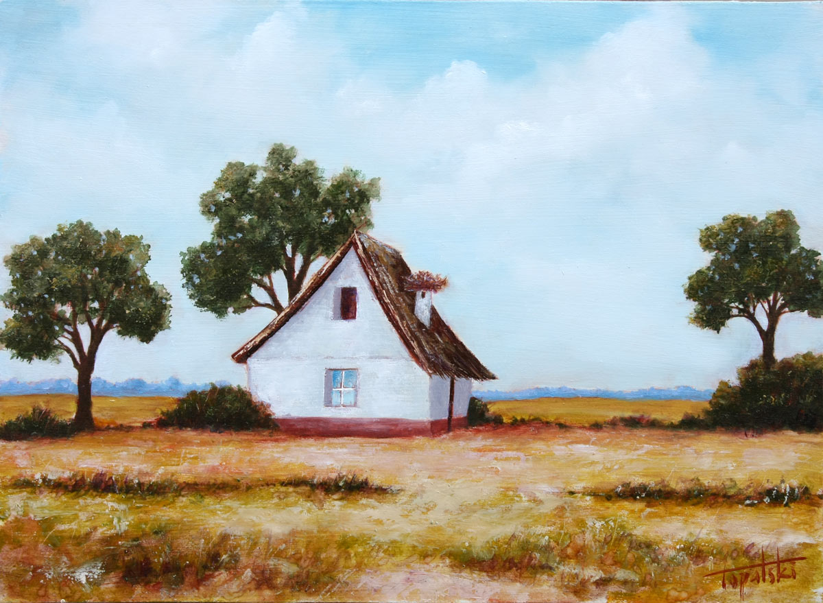 Farm house with a nest oil painting fine arts gallery for Oil paintings for the home
