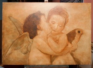 Sienna layer-The first Kiss or L'Amour et Psyché, enfants by Topalski