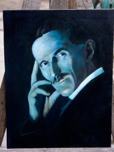 Nikola Tesla- Blue Portrait Oil Painting in Progress - First Blue Layer