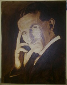 Nikola Tesla - Portrait Painting by Topalski - painting in progress phase 1