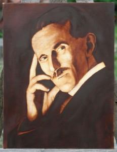 Nikola Tesla - Portrait Painting by Topalski - painting in progress phase 2