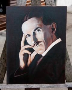 Nikola Tesla - Portrait Painting by Topalski - painting in progress phase 3-semi-verdacio