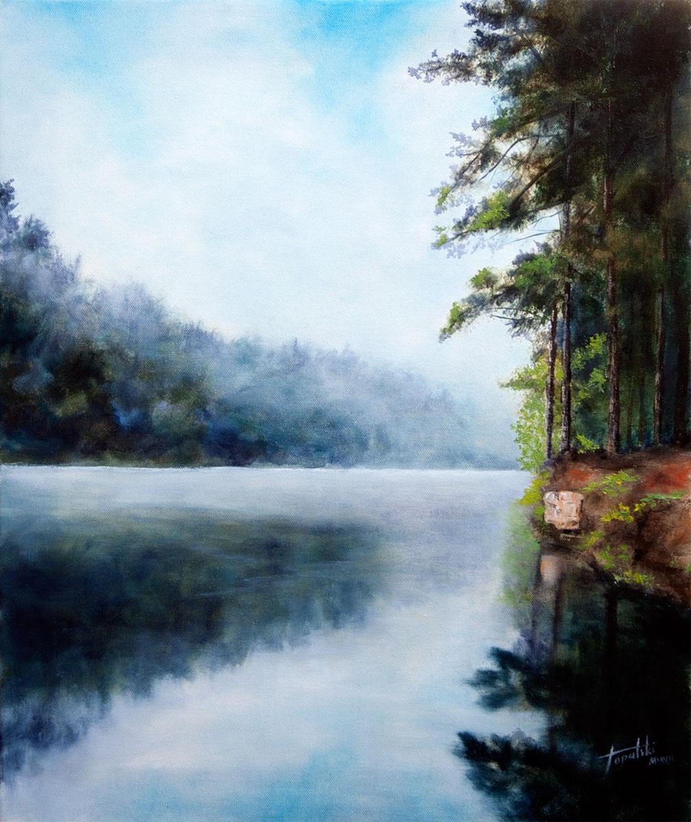 Misty river original oil painting on canvas fine art by artist darko topalski
