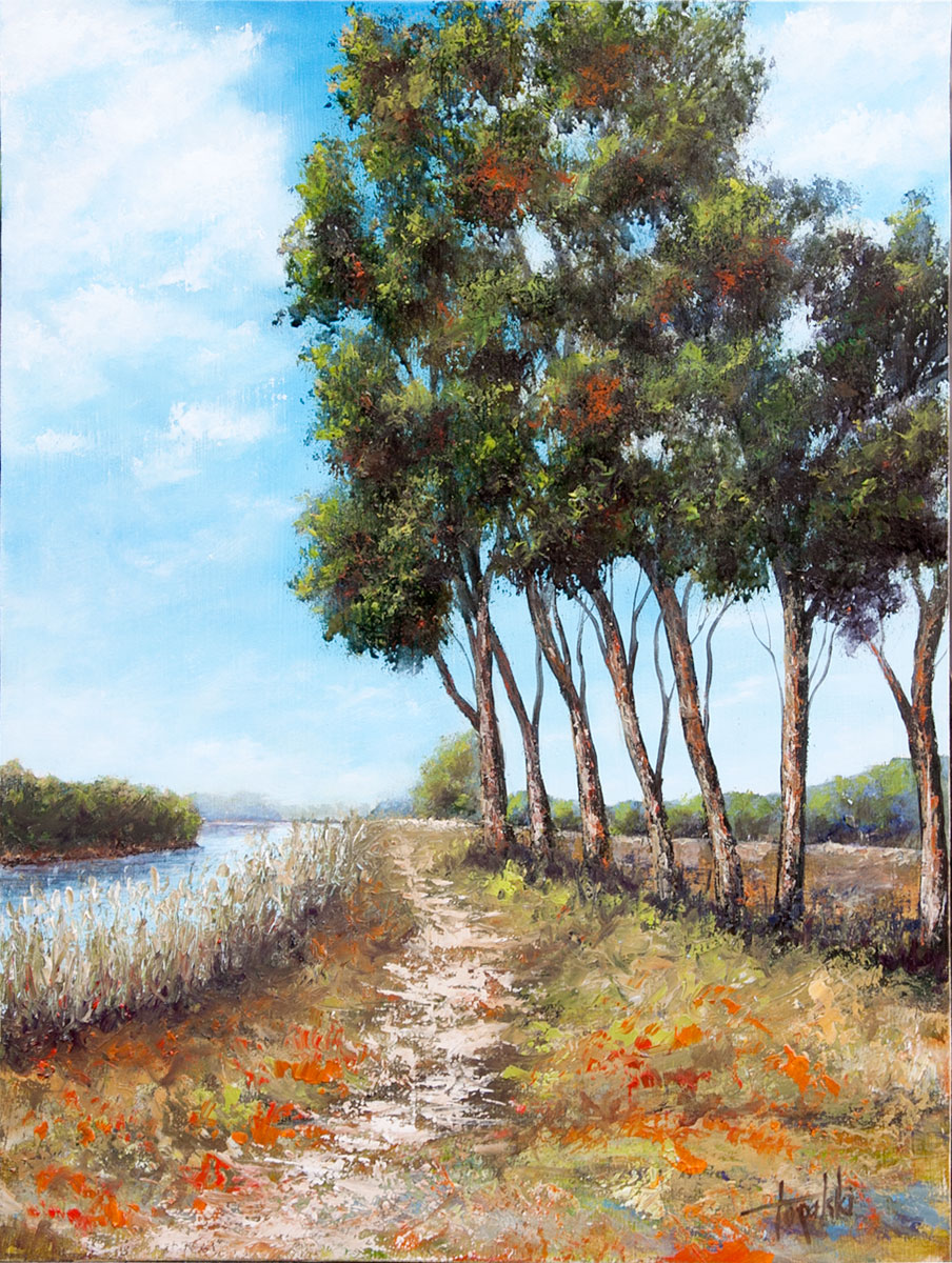Fine art by the river original oil painting on mdf by artist darko