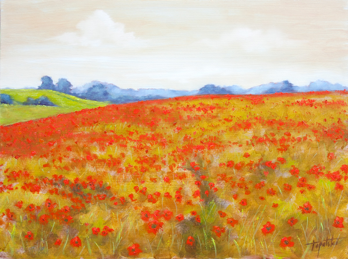 Red Poppy Field Oil Painting Fine Arts Gallery Original Fine