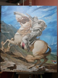Novak on Alps-coloring background layer-oil fine art by-topalski