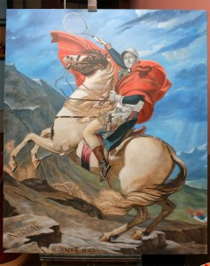 Napoleon Novak Djokovic on Alps-oil painting fine art-by topalski