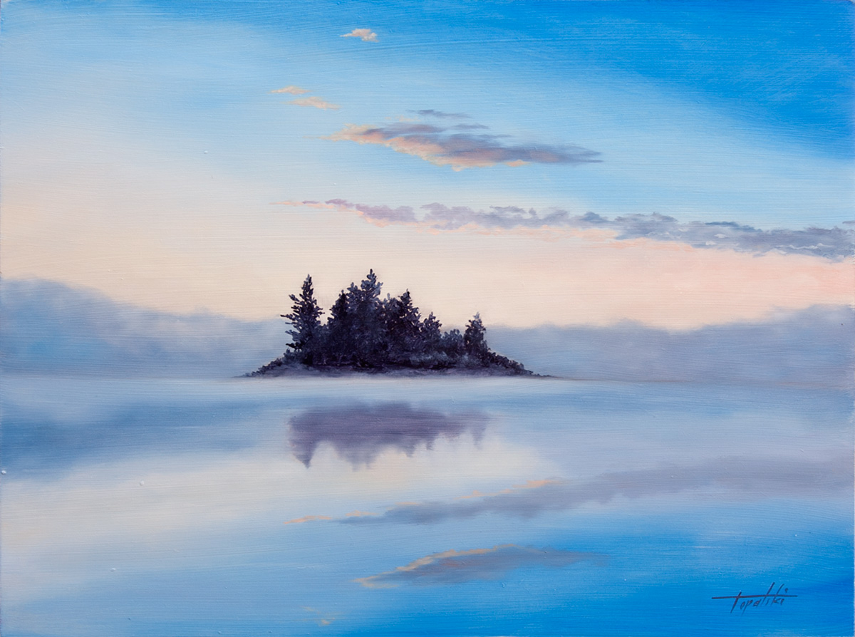 Misty Island Oil Painting Fine Arts Gallery Original