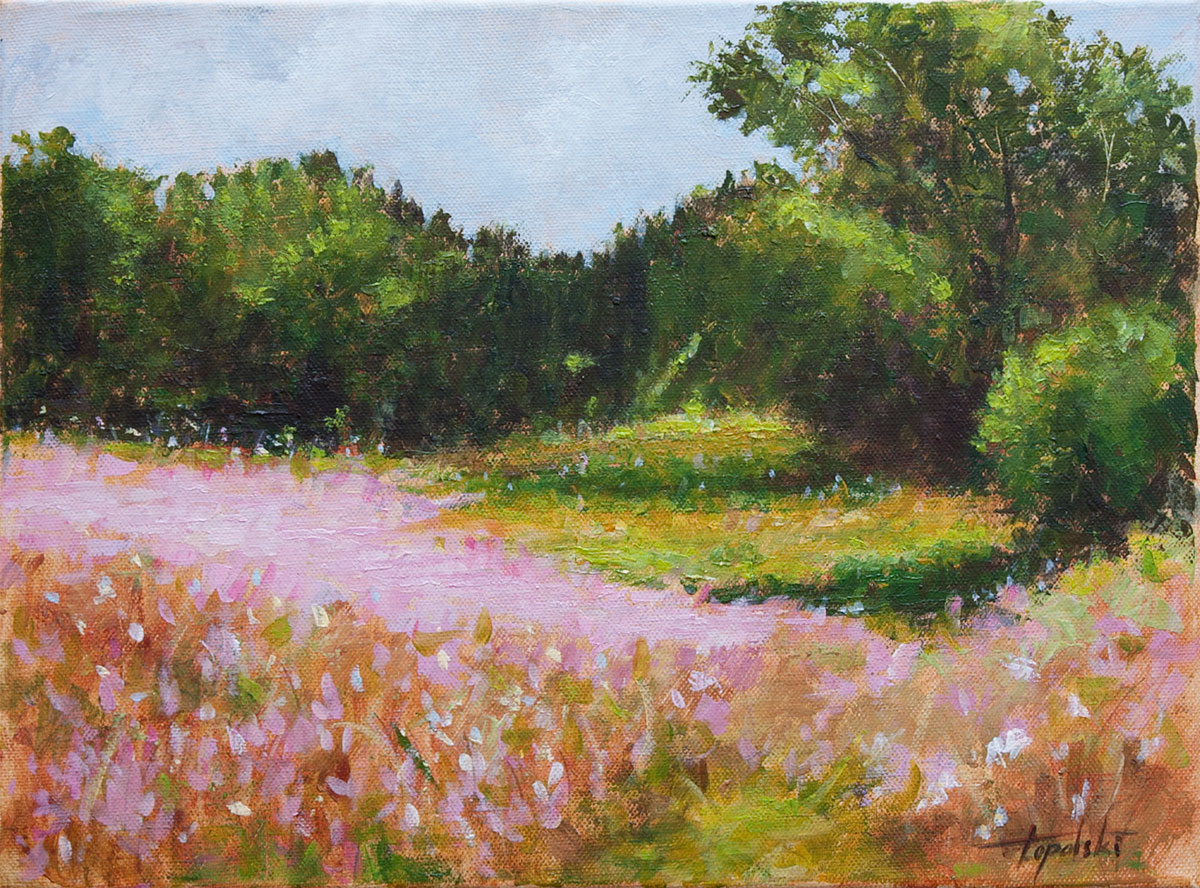 Pink landscape flowers oil painting fine arts gallery original fine art pink landscape flowers original acrylics and oil painting on canvas by artist mightylinksfo